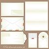Векторный клипарт: Vintage набор пост - Ретро конверты и открытки