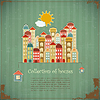Vector clipart: Collection of houses on vintage background