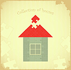 Vector clipart: Puzzle house on Grunge background