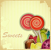 Vector clipart: sweet candy on Retro background