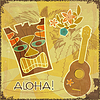 Vector clipart: Retro Hawaiian postcard