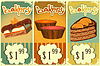 Vector clipart: cake price tags Vintage