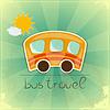 Vector clipart: Fun bus travel card