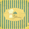 Vintage Menu Card with chefs on striped background