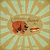 Векторный клипарт: Собака мультяшный и торт на фоне Grunge