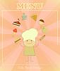 Дизайн меню детей с шеф-поварами и набора продуктов питания
