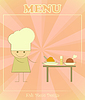 Vector clipart: Design of kids menu with chefs and served table