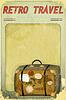 Векторный клипарт: Ретро открытки Travel - старый чемодан