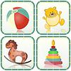 Векторный клипарт: Детские игрушки иконки