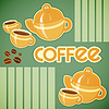 Coffee cups, coffee pot and coffee beans | Stock Vector Graphics