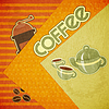Vector clipart: coffee cups, coffee pot, coffee mill and coffee beans