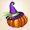 Vector clipart: Orange pumpkin with hat