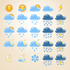 Vector clipart: 25 detailed weather icons