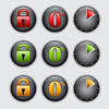 Vector clipart: Set of clock, padlock and percent buttons