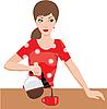 Vektor Cliparts: Woman on Küche gießt Kaffee
