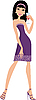 Vector clipart: Young woman with wine glass