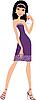 Vektor Cliparts: Junge Frau mit einem Glas Wein