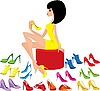 Vector clipart: Young woman tries on shoes