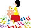 Векторный клипарт: Молодая женщина примеряет обувь
