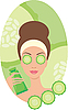 Vector clipart: Beautiful young woman with cucumber in the face of
