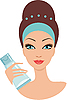 Vector clipart: Beautiful young woman with face cream