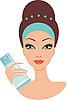 Векторный клипарт: Красивая молодая женщина с кремом для лица