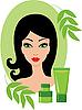 Vektor Cliparts: Schöne junge Frau mit einem Kosmetik-Set