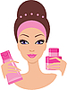 Vector clipart: Beautiful young woman with cosmetics set