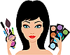 Vector clipart: Young beautiful woman with cosmetics