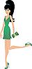 Векторный клипарт: Женщина в зеленом платье