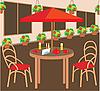 Векторный клипарт: Летние кафе улицы