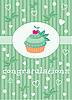 Vector clipart: Card with cupcake