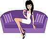 Young woman with wine glass sits on sofa | Stock Vector Graphics