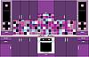Векторный клипарт: Внутренних дел. Кухня в фиолетовых тонах