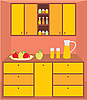 Vector clipart: Kitchen furniture. Interior.
