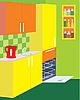 Kitchen furniture. Interior | Stock Vector Graphics