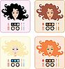 Vektor Cliparts: Make-up für Frauen mit einer anderen Haarfarbe