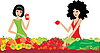 Two women buy vegetables | Stock Vector Graphics