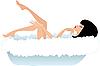 Vektor Cliparts: Frau in einem Bad. Weißer Hintergrund