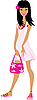 Vector clipart: Girl in pink dress