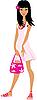 Векторный клипарт: Девушка в розовом платье