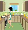 Junge Frau auf Küche