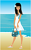 Vector clipart: Young woman on beach
