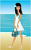 Векторный клипарт: Молодая женщина на пляже