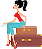Vector clipart: Woman sits on suitcase and holds the ticket