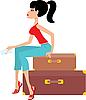 Vektor Cliparts: Frau sitzt auf einem Koffer und hält das Ticket