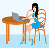 Vector clipart: Young woman with the laptop in cafe
