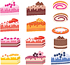 Vector clipart: Cakes, pieces of pies, sweets