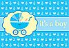 Vector clipart: Baby boy arrival announcement card