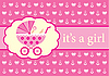 Vector clipart: Baby girl arrival announcement card